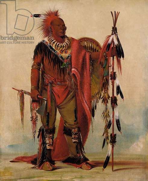 Kee-o-kuk, The Watchful Fox, Chief of the Tribe, in 1835 painting by George Catlin. Keokuk was the leader of the Sauk faction that opposed Black Hawk's plan to repudiate the Treaty of 1804 to return to their former lands in Illinois. After he saw east coast cities, he concluded opposition would be futile (oil on canvas)