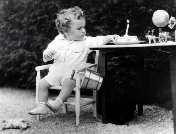 Charles Lindbergh Jr. (1930-1932), son of American pilot Charles Lindbergh, celebrating his birthday prior to his kidnapping. circ. 1931