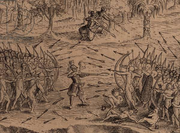 DEFEAT OF THE IROQUOIS AT LAKE CHAMPLAIN, detail of 1613 engraving after a drawing by Samuel de Champlain. In the center, Champlain fires his harquebus into Iroquois warriors, as two other French soldiers prepare to fire harquebuses into their flank. This is the only known actual likeness of Champlain