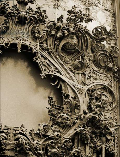 Louis Sullivan's (1856-1924), modernist architecture was decorated with nontraditional ornament, such as this cast iron motif on the 1904 Carson, Pirie, Scott & Company Department Store