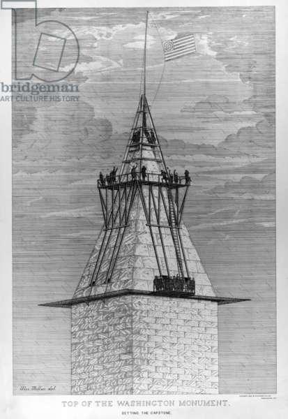 Washington Monument. Setting the capstone of the Washington Monument, 1885