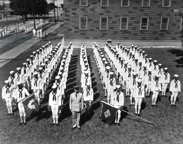 African American recruits at the Great Lakes Naval Training Station. World War 2, Aug. 1943