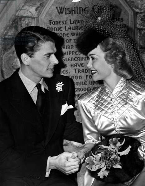 Ronald Reagan, Jane Wyman at their wedding in Glendale, California, 1940