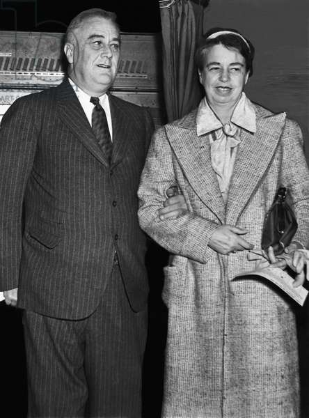 FDR Presidency. US President Franklin Delano Roosevelt with First Lady Eleanor Roosevelt, c.late 1930s