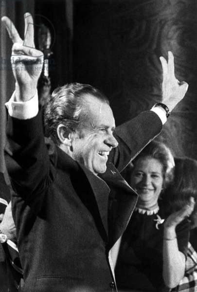 RICHARD NIXON-President Nixon responds to a cheering young Republican crowd at their leadership conference in a Washington hotel,
