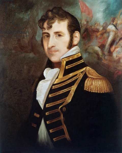 Commodore Stephen Decatur, by Charles Bird King, c. 1810, oil on canvas. Decatur won fame in the Battle of Tripoli Harbor during First Barbary War, 1801-1805. The background of this portrait has a scene of hand to hand fighting on a ship's deck, action that is associated with the First Barbary War. In the War of 1812, he commanded the Frigates, USS United States, and USS President (oil on canvas)