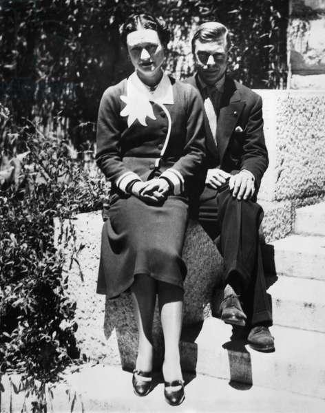 Duchess of Windsor Wallis Simpson and Prince Edward, Duke of Windsor on their first wedding anniversary, Chateau de la Croe, Antibes, France, June 3, 1938