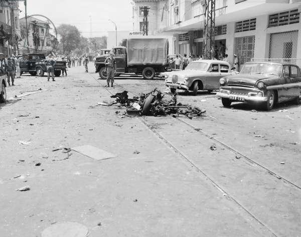 Vietnam War, scene of Viet Cong terrorist bombing in Saigon, Republic of Vietnam, c.1960s