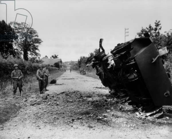 Destroyed U.S. tank at La Haye-du-Puits, Normandy. All crew members except one escaped. July 9, 1944. Normandy Campaign, France, World War 2