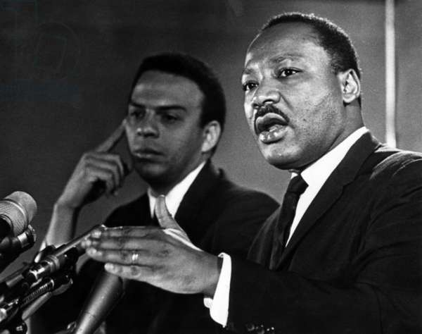 American civil rights activists Andrew Young and Dr. Martin Luther King Jr., c. 1960's.