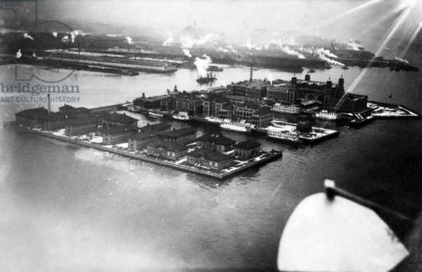 View of Ellis Island from airplane, New York City, c.1912