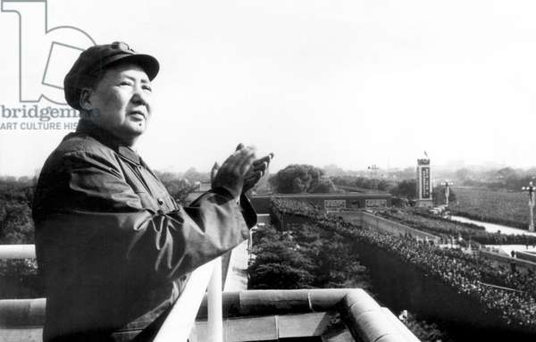 Chairman Mao Tse Tung, (aka Mao Zedong, 1893-1976), applauding Red Guards and students in Peking, November 19, 1966