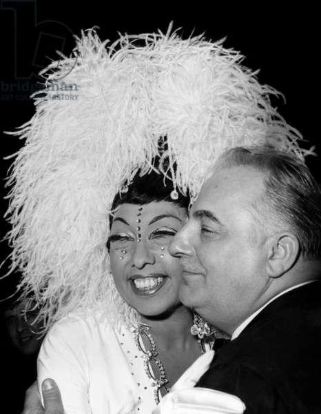 Josephine Baker and Bruno Coquatrix, director of Olympia Music Hall in Paris, 1968
