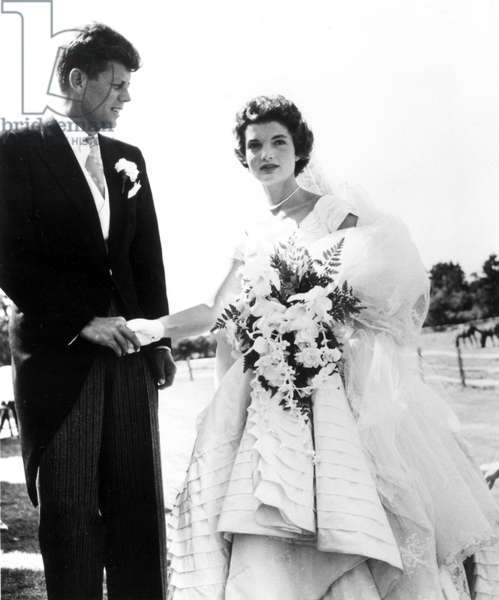 JOHN F. KENNEDY and JACQUELINE BOUVIER KENNEDY on their wedding day, Newport, R.I., 1953