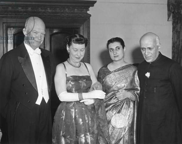President and Mamie Eisenhower with Indira Gandhi and Jawaharlal Nehru. Nehru gave a dinner in honor of the President and First Lady at the Indian Embassy on Dec. 19, 1956.