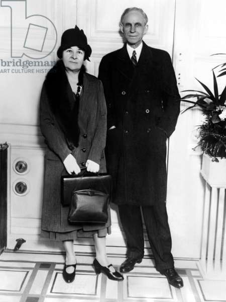 Clara Bryant Ford and Henry Ford arriving in New York City on the S.S. Majestic after a visit to England. 1928