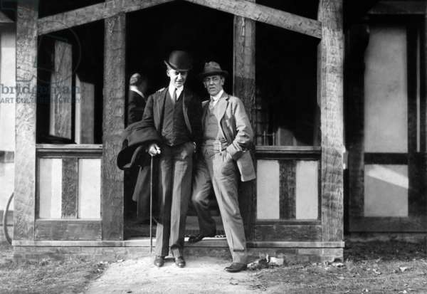 President Elect Woodrow Wilson (right), with his arm around William McCombs, who was instrumental in the winning of the election, 1912, Princeton, New Jersey