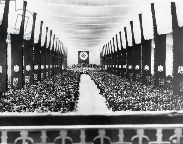 Nazi rally at the convention hall, Nuremberg, Germany, September 12, 1933