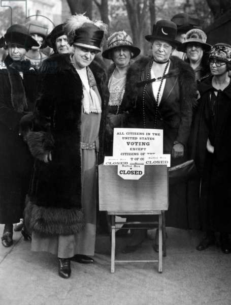 Mrs. Carrie Chapman Catt and Mrs. G.A. Ricker of the Colombia Suffrage Committee League of Women Voters on Election Day in Washington DC, November 4, 1924