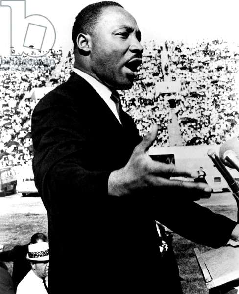 Martin Luther King, making speech, in early 1960s