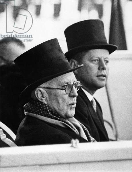 JOHN F. KENNEDY & his father, JOSEPH KENNEDY, just before JFK was sworn in at his Inauguration, January 20, 1961.