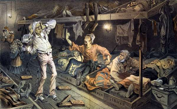 Uncle Sam's lodging-house. Print shows an Irishman berating Uncle Sam in a boarding house filled with laborers, immigrants from several countries who are attempting to sleep. chromolithograph. June, 1882