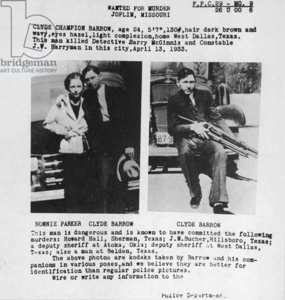 A wanted poster for Bonnie and Clyde used personal photos lawmen found in one of their deserted hideouts. 1933
