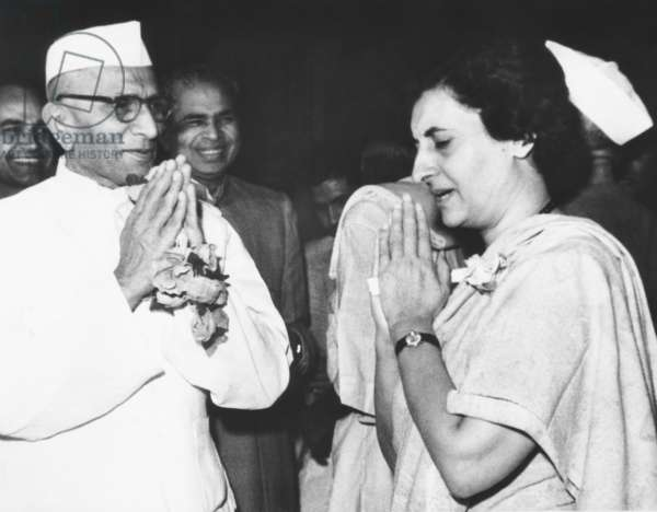 Re-elected Prime Minister Indira Gandhi with her Deputy Prime Minister, Morarji Desai. March 20, 1967. Desai resigned from the Gandhi cabinet in 1969, splitting the Congress Party into two factions. Desai succeeded her as Prime Minister from 1977-79