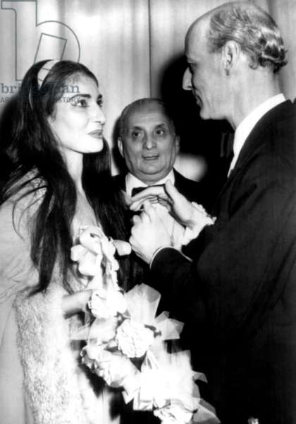 "Rudolf Bing (r), general manager of the Metropolitan Opera House congratulates opera singer Maria Callas on her performance in Verdi's ""La Traviata"" 1958"