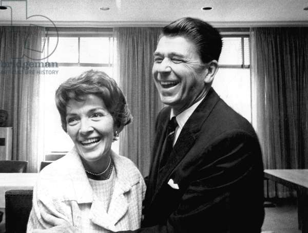 Nancy Reagan, Ronald Reagan at the governor's mansion in Sacramento, California, 5/3/67