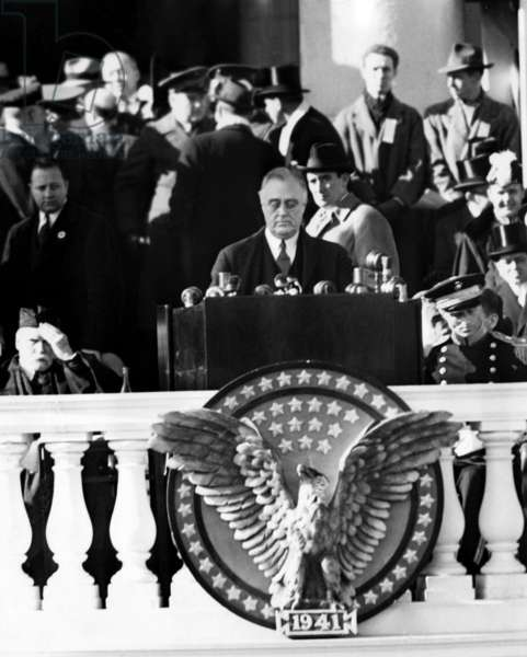 Franklin Roosevelt delivers the inaugural address for his third presidential term, 1941