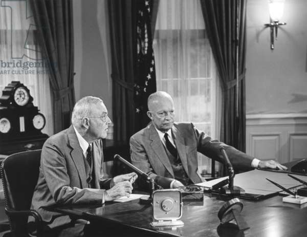 President Eisenhower introduced Sec. of State John Foster Dulles, who discussed the Suez crisis. Television and Radio broadcast from the Oval Office on Aug. 3, 1956.