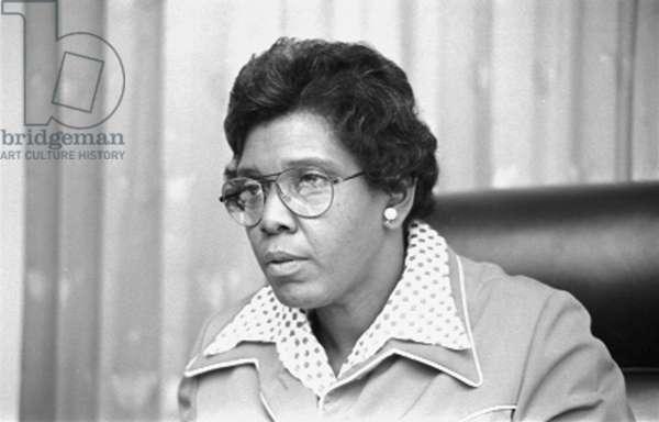 Barbara Jordan (1936-1996), African American congresswoman in the United States House of Representatives, photograph by Thomas J. O'Halloran, April 7, 1976