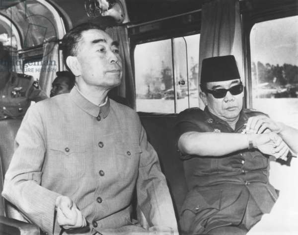 China's Premier Chou En-lai (left) cruising Egypt's Nile River with President Sukarno of Indonesia. July 6, 1965. They were awaiting the opening in Algeria of the Afro-Asian Conference, which was canceled because of the Sino-Soviet split and overthrow of the Algeria's President Ben Bella