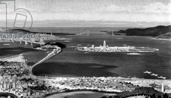 San Francisco Bay site of 1939 Golden Gate Exposition rendered by Chesley Bonestell. Bay Bridge is left, Golden Gate far center.