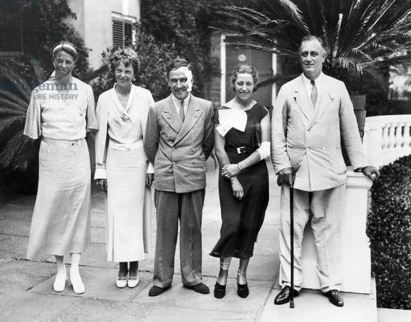 L-R: First Lady Eleanor Roosevelt, Amelia Earhart, Scottish pilot Jim Mollison, his wife, pilot Amy Johnson, President Franklin D. Roosevelt, 1933.