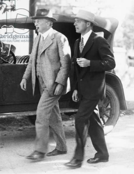 Attorneys William G. Thompson (left) and Herbert Ehrmann, lawyers for Nicola and Vanzetti. They are leaving the Dedham County Court House on Sept. 13, 1926, where they were seeking a new trial for Nicola Sacco and Bartolomeo Vanzetti who were awaiting execution for the murder of a South Braintree paymaster in 1925. Thompson argued the post-trial motions before the Supreme Judicial Court of Massachusetts in January of 1926.