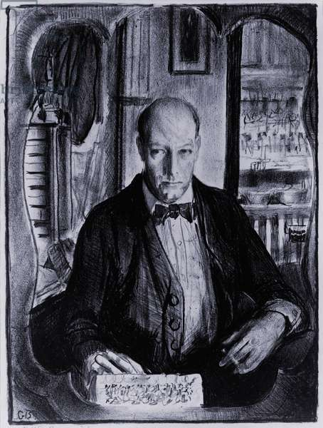 Self-portrait of George Bellows (1882-1925), American realist painter of the Ashcan school, whose subjects were taken from all levels of society. Bellows painted urban life and amusements, including a famous series of boxing matches