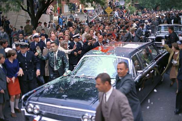 Motorcade of President Lyndon Johnson attacked by anti-Vietnam War protesters in Melbourne, Australia. Protesters threw paint on the car, police and Secret Service agents on Oct. 21, 1966