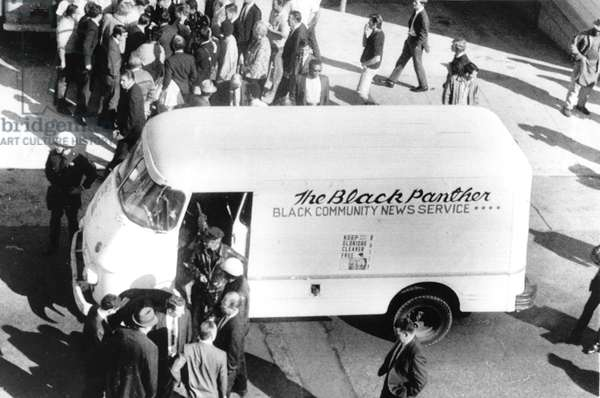 Black Panthers, three police officers were shot when they stopped this truck matching description of gas station holdup getaway vehicle. 11-19-1968, San Francisco, c.