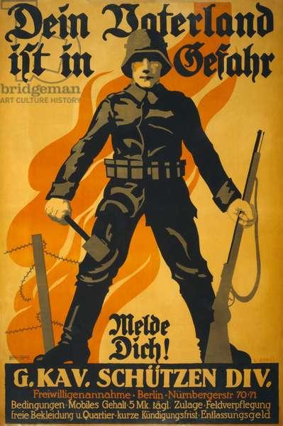 Dein Vaterland ist in Gefahr, melde dich!, c.1918 (poster)