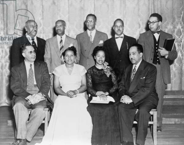 African American Poets at Jackson State College festival in 1945. Seated in front row, l. to r.: Sterling Allen Brown, unidentified, Margaret Walker, Langston Hughes, and in back row: Arna Wendell Bontemps, Melvin B. Tolson, President Jacob L. Reddix, Queen Dodson, and Robert C. Hayden
