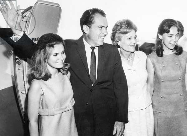 Tricia Nixon, Former Vice President Richard Nixon, Pat Nixon, and Julie Nixon, leaving New York from Kennedy International Airport, June 4, 1967