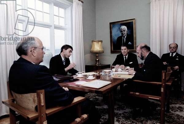 Ronald Reagan. General Secretary Gorbachev (L) in talks with President Reagan (R) at Hofdi House during the Reykjavik Summit. Reykjavik, Iceland, October 11-12, 1986