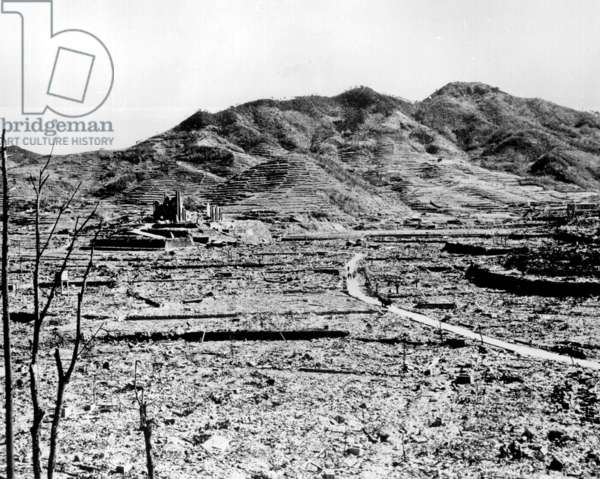 "Nagasaki, 1945: Atomic bomb. A Roman Catholic cathedral among the ruins of Nagasaki, Japan after the atomic bomb was dropped by the US bomber ""Enola Gay"", 1945"