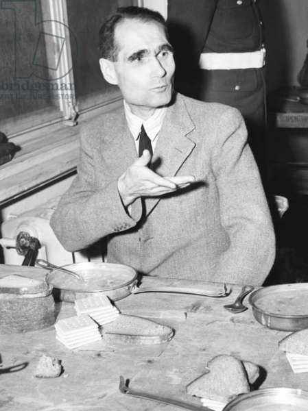 Rudolf Hess, Adolf Hitler's one time Deputy, taking a meal at Nuremberg prison. Soup, bread and crackers were on the menu for the Nazi defendants. Dec. 7, 1945