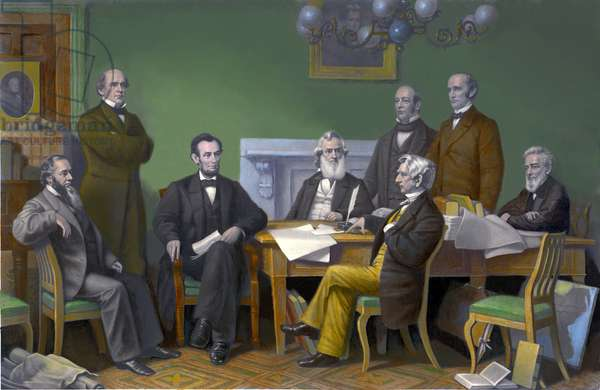 The first reading of the Emancipation Proclamation before the cabinet, July 22, 1862 (engraving)