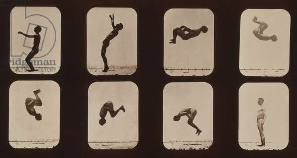 Consecutive images of a man doing a back somersault. From Eadweard Muybridge's, THE ATTITUDES OF ANIMALS IN MOTION, 1881