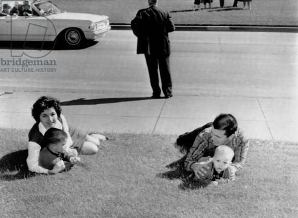 Witnesses to the Kennedy assassination. Frightened spectators drop to the ground after shots were fired at Dealy Plaza during the assassination of President Kennedy. Dallas, Texas. Nov. 22, 1963