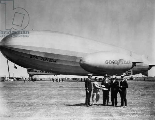 The LZ 129 Graf Zeppelin, and the Volunteer, a Goodyear Blimp, c.1930s